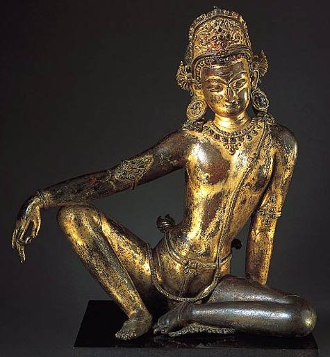 Indra - from Nepal - gilt bronze statue (13th century A.D.)